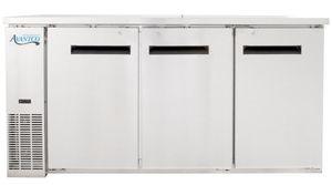 "Avantco UBB-24-72S 72"" Narrow Solid Door Stainless Steel Back Bar Cooler with LED Lighting"
