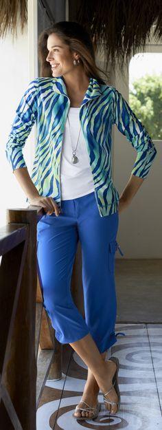 Chico's Zenergy Becca Knit Multi Print Jacket and Neema Emma Cargo Crop.