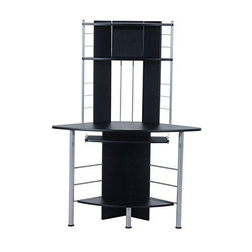 HomCom 45 Arch Tower Corner Computer Desk  Black Review https://homeofficefurnitureusa.info/homcom-45-arch-tower-corner-computer-desk-black-review/