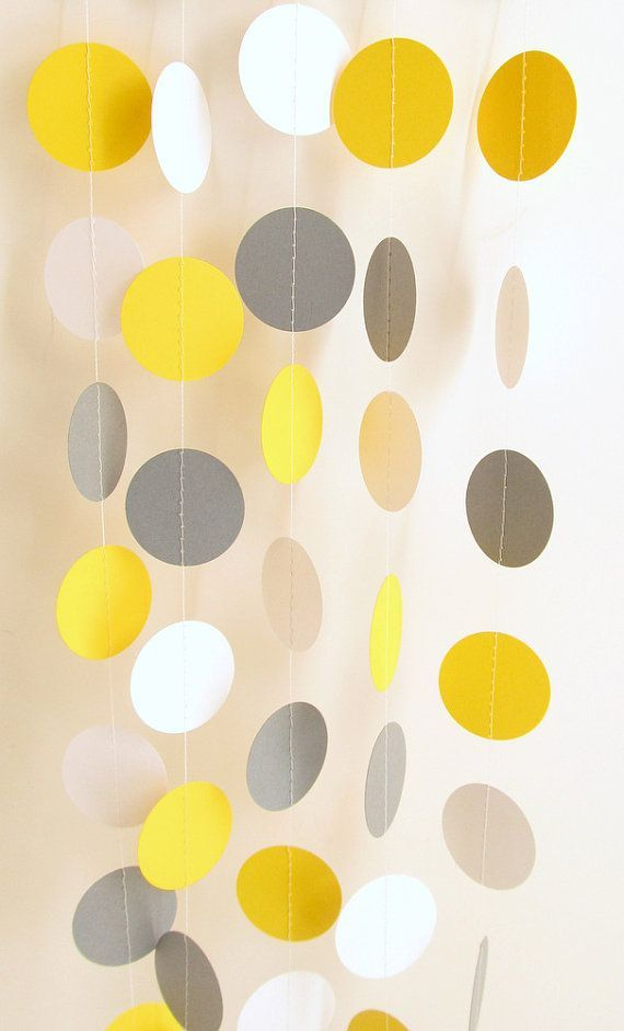 Wedding Garland Yellow, Gray, White Circle Paper Garland 10 ft - Bridal Shower, Baby Shower, Birthday Decor, Nursery, Yellow & Gray Wedding on Etsy, $10.00