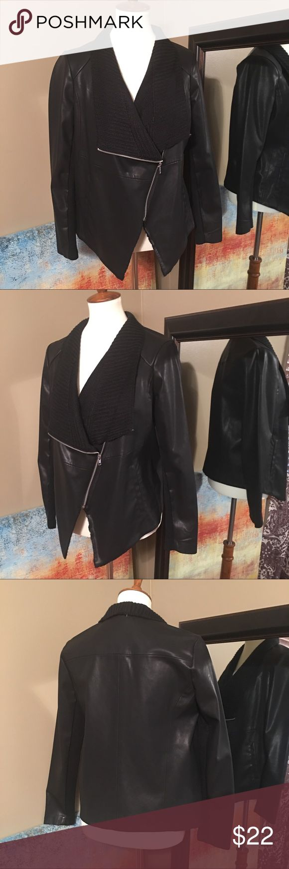 BB Dakota Asymmetrical Faux Leather & Knit Jacket With a graceful draped silhouette and easy open front, this soft faux jacket from BB Dakota is an instant outfit maker. Draped lapels, long sleeves with stretch knit panels. Feel free to make an offer using the offer link. Bundle 2+ listings to save more. 🚫Trades. 📦Same or next day shipping. 📫 BB Dakota Jackets & Coats
