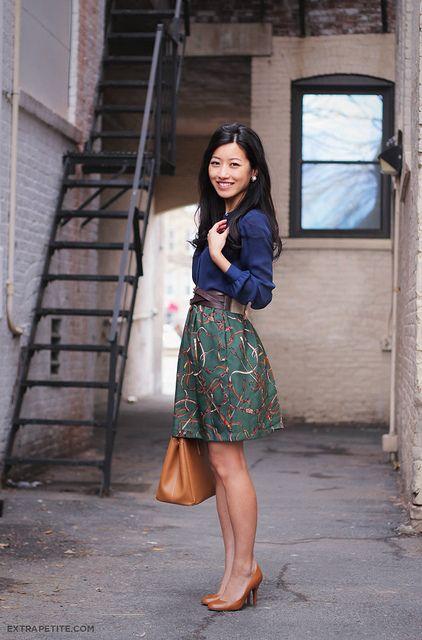blue Ann Taylor blouse, DIY skirt , J.Crew Factory belt, H blazer, congac J.Crew Mona pumps & Prada tote