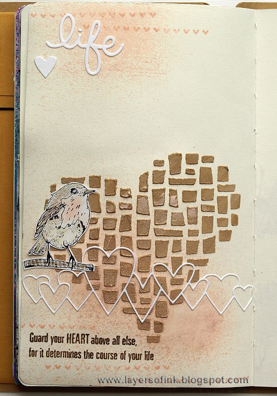 Layers of ink - Heart Art Journal Page, made for Simon Says Stamp Monday Challenge Blog using Simon Says Stamp exclusive dies and stamps, and Wendy Vecchi inks, stamps and paste.