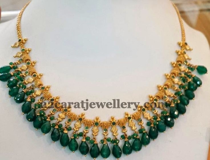 Emerald Drops Gold Necklace - Jewellery Designs