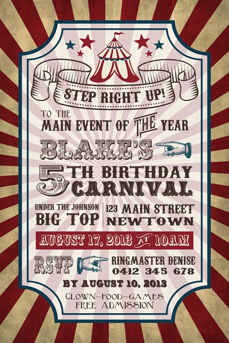 15 Must-see Carnival Party Invitations Pins | Carnival birthday ...