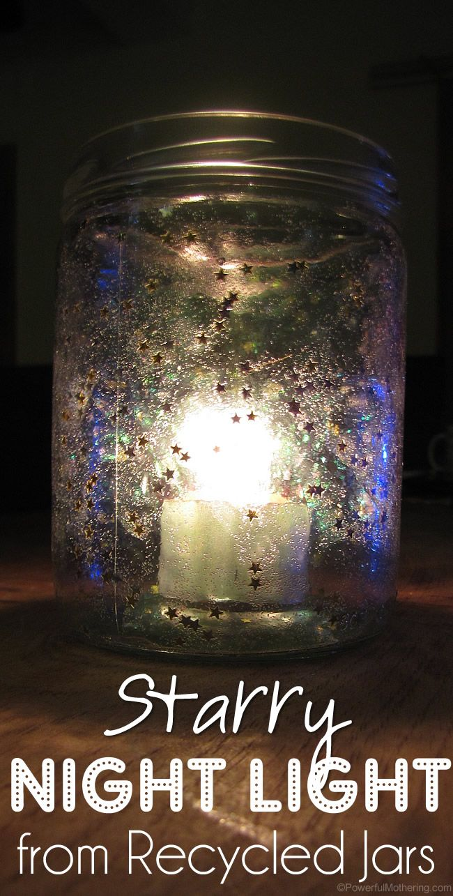 From kids night light to party decor with bug repellent candles! These Starry Night Light from Recycled Jars are just plain PRETTY!