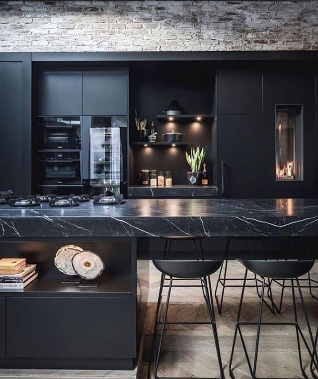 Documenting Inspiration Black Design Inspiration Interiordesign Decorating Blackinteriors Homede Interior Design Kitchen Kitchen Design Kitchen Interior