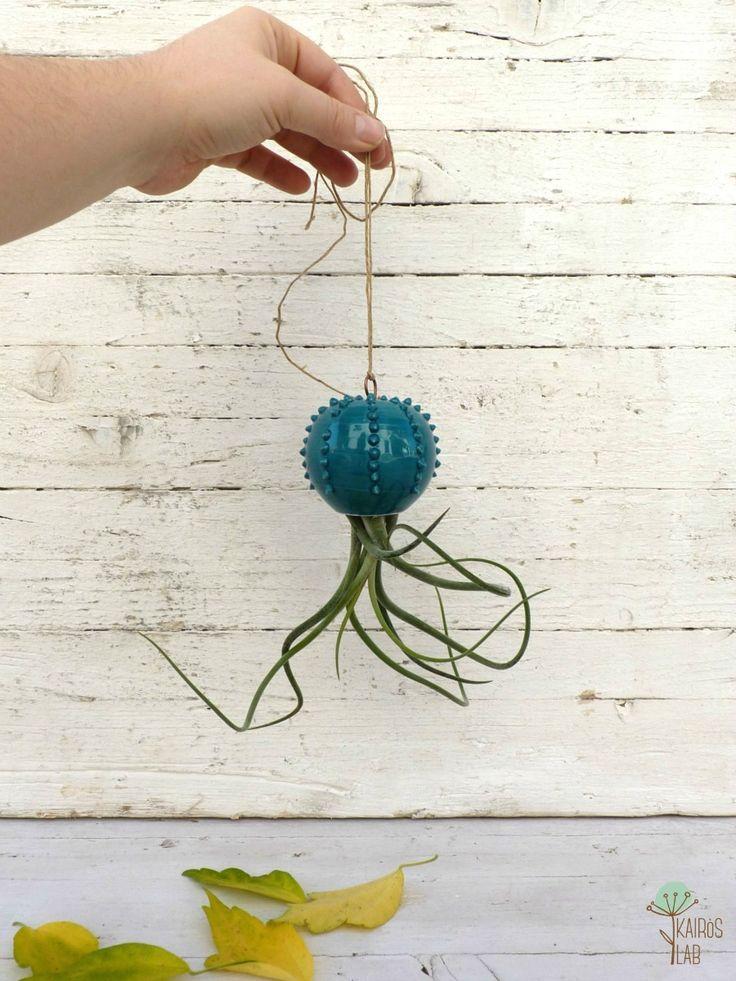 Cactopus vaso da appendere per piantine aeree in ceramica verde acqua - su ordinazione : Accessori casa di kairos-lab