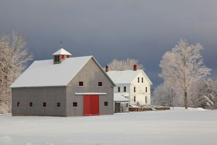 What A Beauty Love The Gray Barn With Red Door Barns