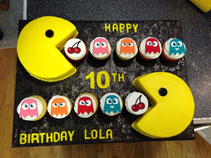PAC man birthday cake with ghost cupcakes
