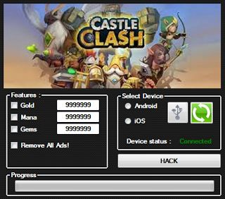 Welcome, If you are looking for Castle Clash hack tool but you are very difficult to find on the internet do not worry friends, you can get a Castle Clash hack the Unlimited Gold, Mana and Gems. This tool will create a generator that will produce unlimited items. Hack This tool is clean of viruses and you can use it safely. This tool will always be our updates. For that you do not hesitate to contact us if they find trouble.