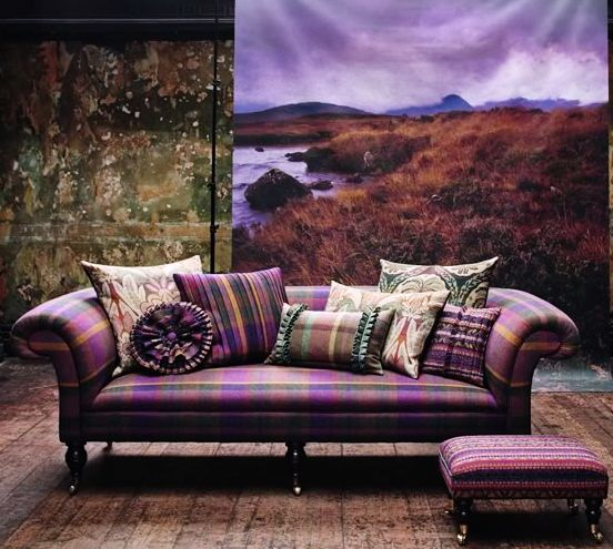Soft purple tartan on an elegant sofa.