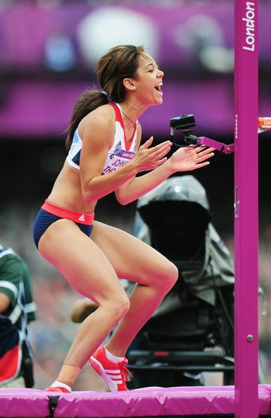 Katarina Johnson-Thompson of Great Britain celebrates a succesful jump in the Women's Heptathlon High Jump on Day 7 of the London 2012 Olympic Games at Olympic Stadium on August 3, 2012 in London, England.