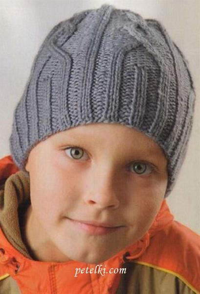 Вязанная шапка на мальчика 7 лет с описанием