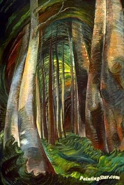 Wood Interior Artwork by Emily Carr Hand-painted and Art Prints on canvas for sale,you can custom the size and frame