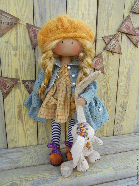 Коллекционные куклы ручной работы. Ярмарка Мастеров - ручная работа. Купить МАЛЫШКА в ПАЛЬТИШКЕ (с зайкой). Handmade. Желтый
