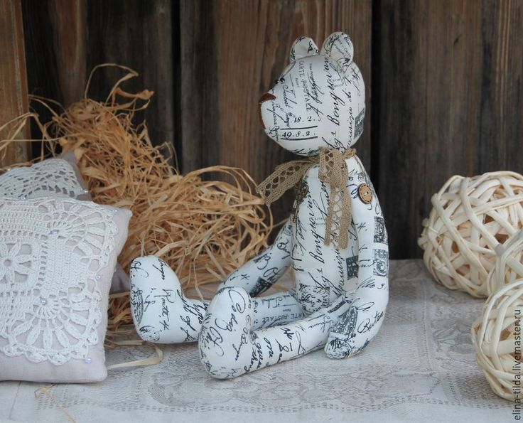 """Купить Мишка """"Старые письма"""" - чёрно-белый, мишка, тильда, тильда мишка, интерьерная игрушка"""