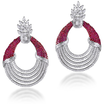 Elegant unblemished rubies hold these circles of diamonds in myriad shapes to the fastenings of a delicate burst of the very fine Marquises! Baguette and pear shaped diamonds set in fine 18 kt yellow gold with white Rhodium polish. #maheshnotandas #earrings