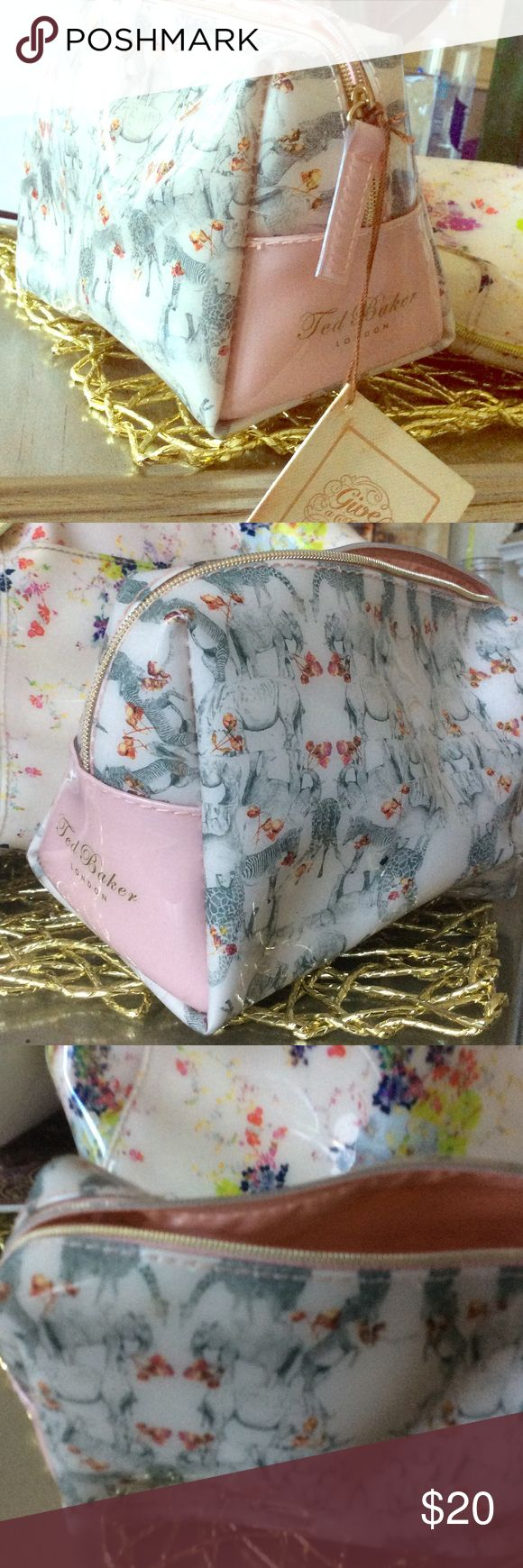 Ted Baker Makeup Bag small medium Zebras and giraffe with tiny red roses on it, although very subtle.  Has a very pastel feel to it. Baker by Ted Baker Accessories