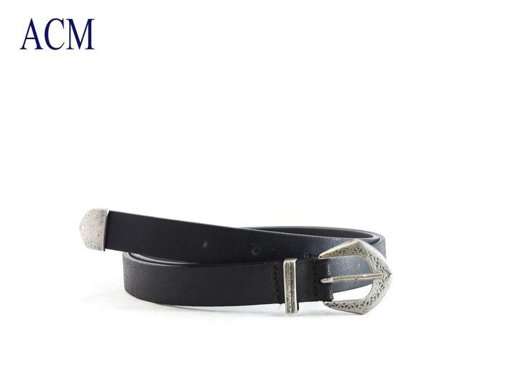 Cintura donna western in vera pelle con passante, puntale e fibbia in metallo invecchiato made in Italy #country #western #belt #leather #vintage