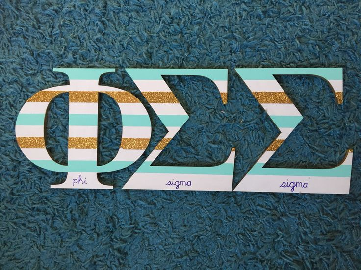 Phi Sigma Sigma painted letters. Gold glitter, purple, and mint sorority craft. Diy gift for little big/little present.