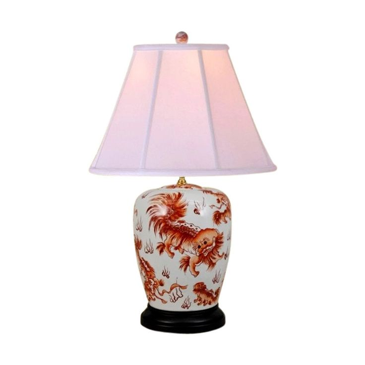 "Beautiful Orange And White Chinese Foo Dog Porcelain Table Lamp 25.5"""