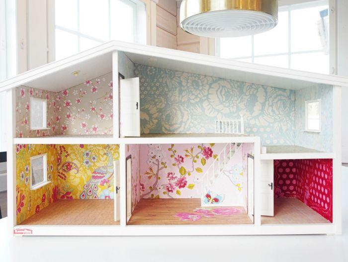 lundby dollhouse diy, renovation, nukkekodin tapetointi, nukkekodin remontti,