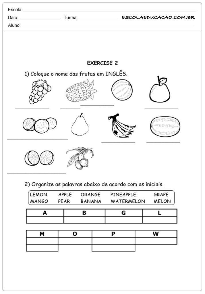 Atividades De Ingles Para Imprimir Atividades De Ingles