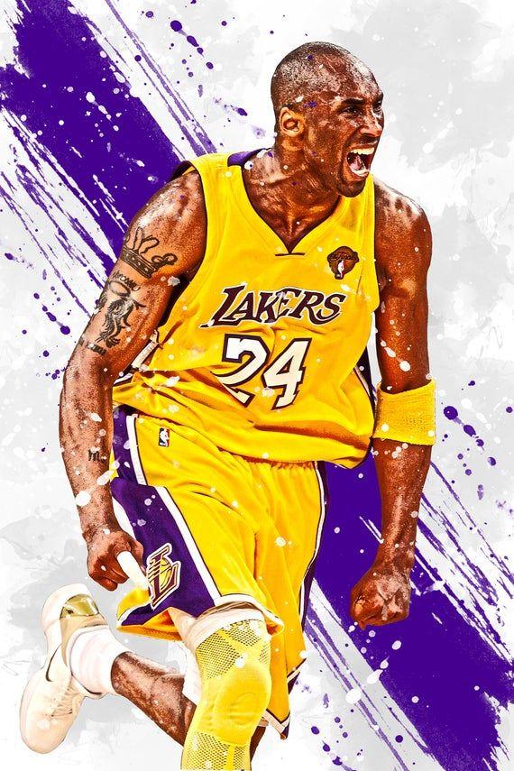 Kobe Bryant Los Angeles Lakers Poster Print Sports Art | Etsy ...
