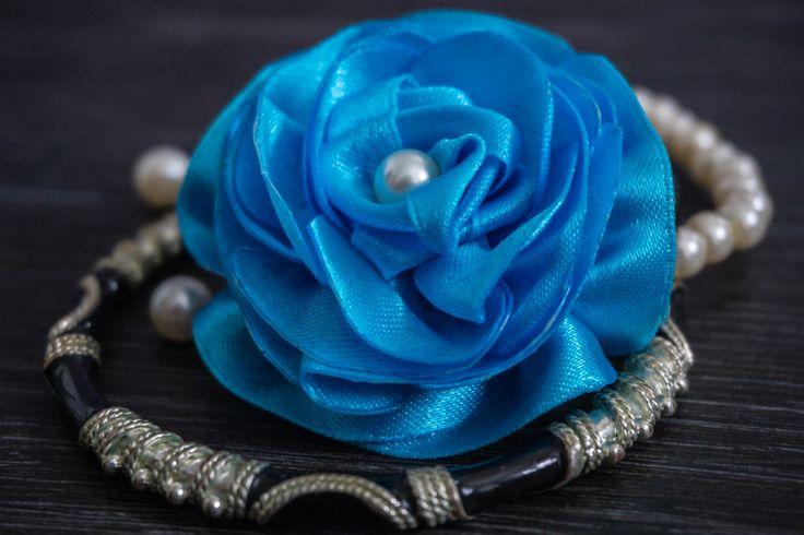 flower hair band https://www.facebook.com/forsuol/ #fabricflower #satinflower #flower #handmade