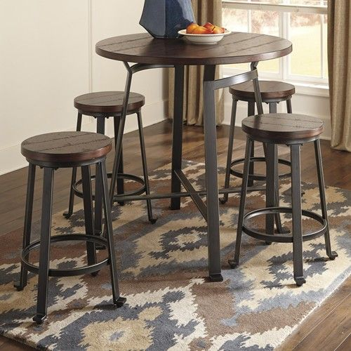 Signature Design By Ashley Challiman 5 Piece Round Counter Table Set Furniture