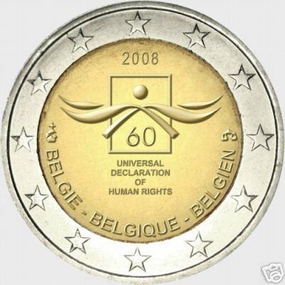 60° anniversario della Dichiarazione Universale dei Diritti dell'Uomo, moneta commememorativa da 2 Euro del Regno del Belgio.