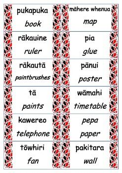 These labels were made to fit a New Zealand classroom. They have the english and Maori translation.