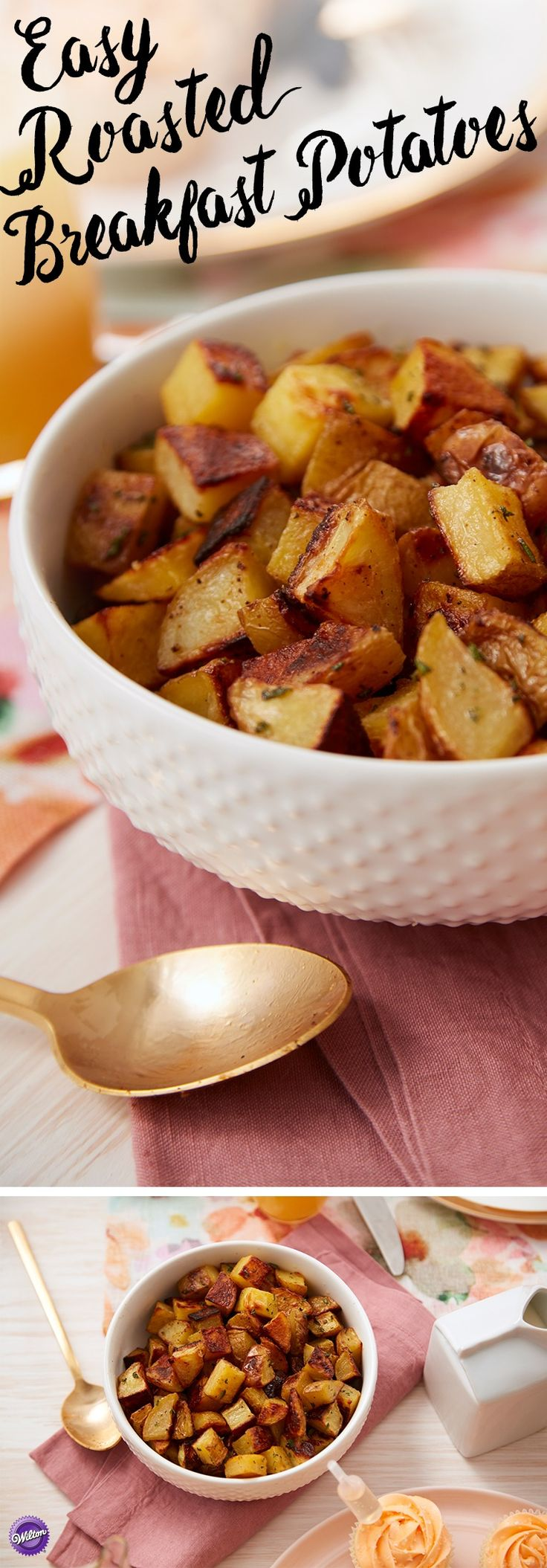 Easy Roasted Breakfast Potatoes - No breakfast or brunch is complete without a satisfyingly savory potato dish. This quick and easy recipe is the perfect complement to pancakes, eggs or fruit at any meal. Learn how to make this easy dish and surprise your mom for Mother's Day with breakfast in bed, or feed the whole family with a big batch of perfectly seasoned roasted breakfast potatoes when you use the Wilton Mega Baking Sheet.