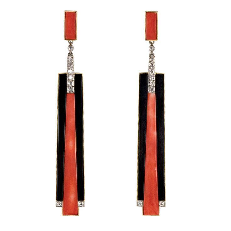 Art Deco revival earrings composed of coral and black onyx and accented by European-cut diamonds. Total diamond weight is approximately .51 carats, color: E-F. Contemporary