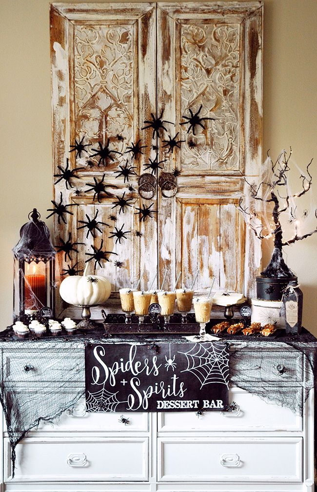 pen n paper flowers styling spiders spirits halloween dessert table for