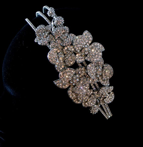 Jewelled bridal headpiece Swarovski side by SarahMorganBridal, £240.00