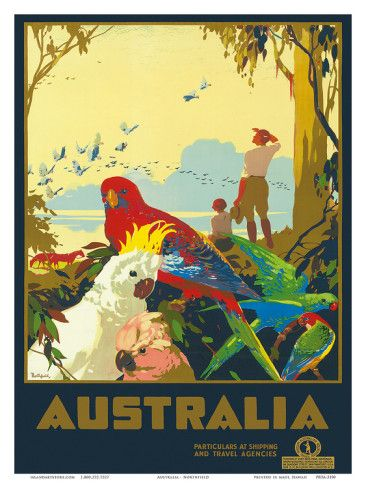 Australian Travel Poster from 1930... Come over and see what has changed in all these years :) - The birds haven't!