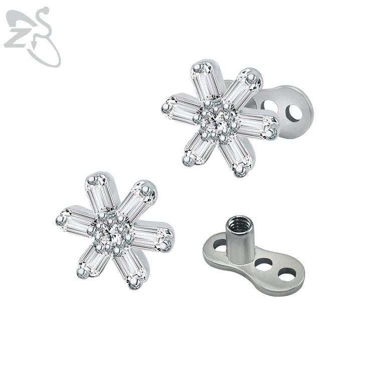 Stainless SteelTrendy Snowy Flower Dermal Anchor Rhinestones Surface Skin Dermal Piercing Retainer Hide-it Top Sexy Body Jewelry