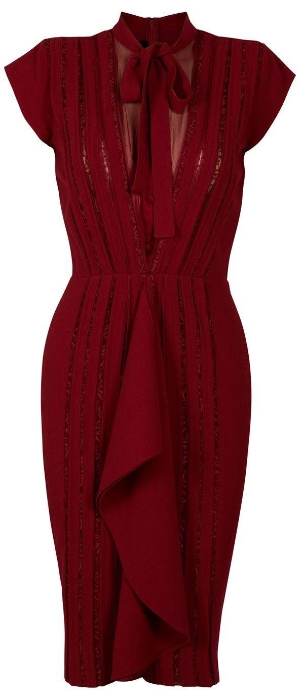 Women Fashion Galaxy: Gorgeous ox blood lace ribbon dress fashion