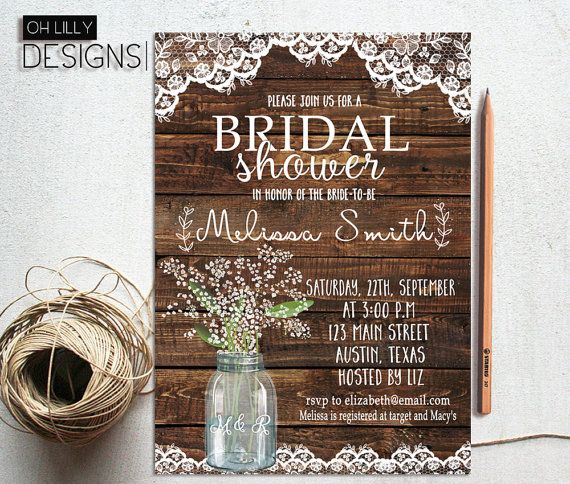 Rustic Bridal Shower Invitation Printable, Lace Bridal Shower Invitation, Baby's Breath mason jar, Mason Jar Bridal Shower, Digital File