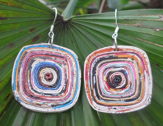 Square Recycled Magazine Paper Earrings