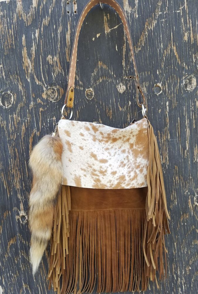 dab19c7bc44 Western Distressed Leather Handbag Rodeo Purse w  Fringe   Fox Tail Hippie  SS7