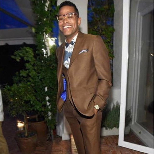 Grammy award winner, @maxwell in our cognac three piece suit in mesh wool.