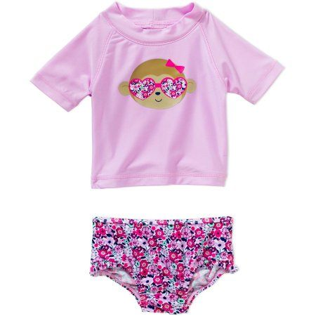 dd8aaad70 Child of Mine by Carter's Newborn Infant Girl Rash Guard Swim Set, Online  Exclusive - Walmart.com