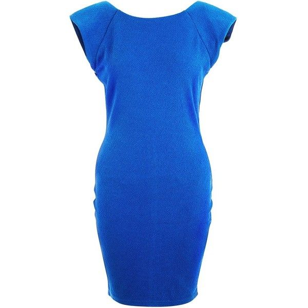 AX Paris Blue Textured Bodycon Dress ($39) ❤ liked on Polyvore featuring dresses, blue, cocktail party dress, mini dress, blue mini dress, going out dresses and bodycon dress