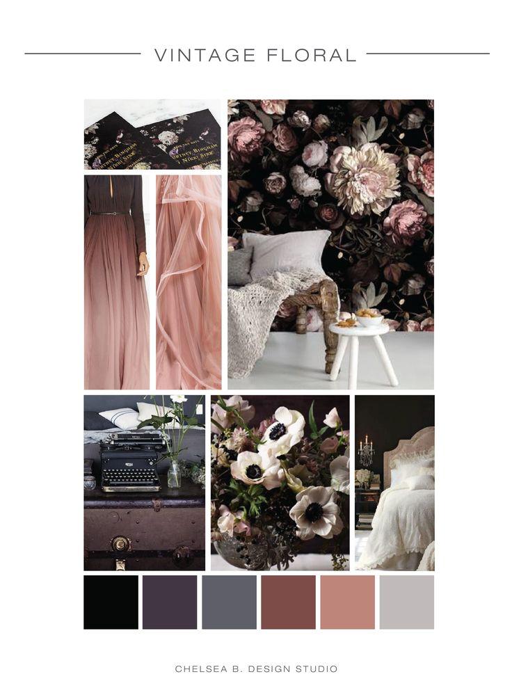 Moody Vintage Wedding Inspiration Board | Dark Florals Mood Board | Industrial, dark neutral color palette for wedding invitations | www.chelseabdesigns.com