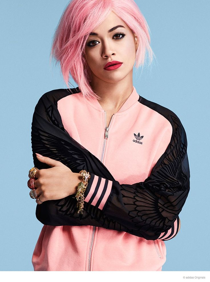 Rita Ora for Adidas http://www.fashiongonerogue.com/rita-ora-rocks-pink-hair-new-adidas-originals-photos/