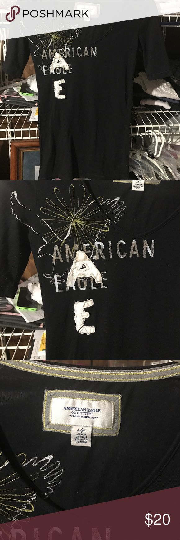 American Eagle shirt size small... American Eagle shirt size small, like brand-new maybe worn once, if at all!!.. paid $58 for it will sell for $20... American Eagle Outfitters Tops Tees - Short Sleeve