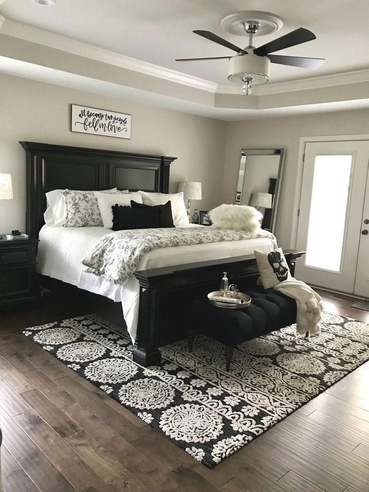 Schwarz-Weiß Master Bedroom Design #bedroomDecoratingIdeas
